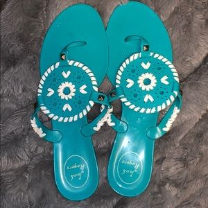 Jack Rogers Georgica Turquoise Jelly Sandal Size 9